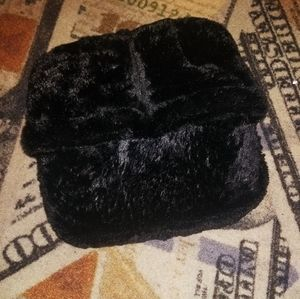 Black furry massage slippers